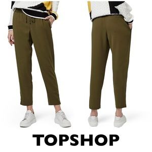 TOPSHOP Army Green Ankle Zip Jogger Pants size 2